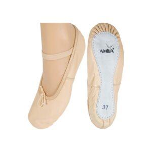 Παπούτσια Μπαλέτου Δερμάτινα Μπεζ, Νο30
